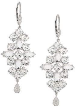 Meira T Diamond, White Topaz& 14K White Gold Drop Earrings
