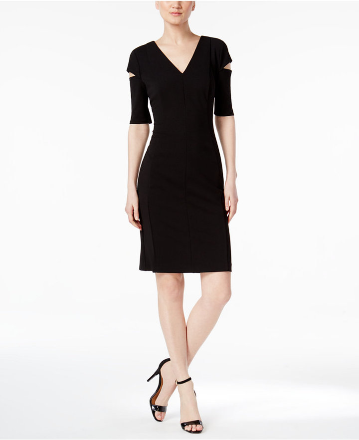 Calvin Klein Cutout Shoulder V-Neck Dress