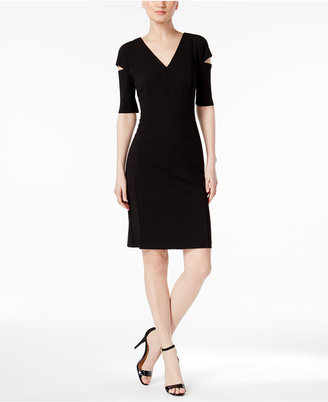 Calvin Klein Cutout Shoulder V-Neck Dress $134 thestylecure.com
