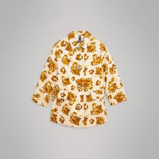 Burberry Floral Velvet Jacquard Car Coat with Warmer , Size: 14Y, Yellow
