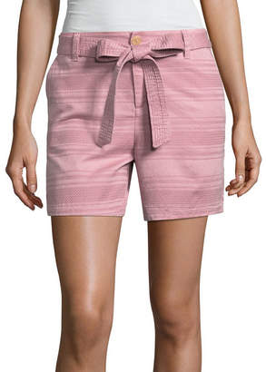 Liz Claiborne Tie Front Textured 5 Chino Shorts
