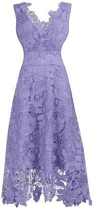 Judy Ellen Women V Neck Lace Long Bridesmaid Dress Party Prom Gown J244LF US
