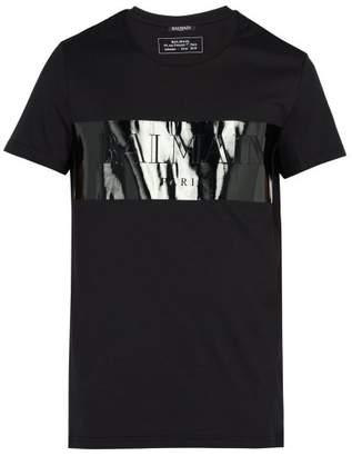 Balmain - Laminated Logo T Shirt - Mens - Black