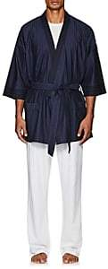 Barneys New York Men's Striped Cotton Belted Robe - Navy