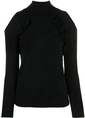 Chiara Bertani cold-shoulder frilled top