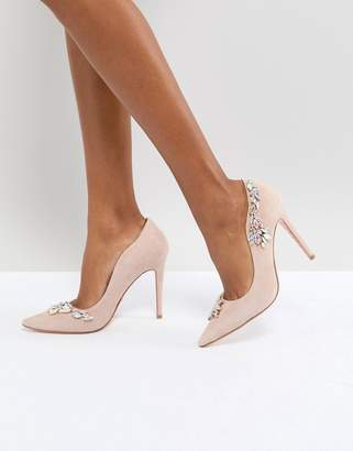 Dune London Dune Bridal Bridal Bestowed Pink Suede Court Shoe With Irredesent Beading