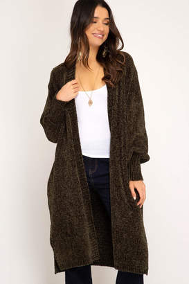 Factory Unknown Long Chenille Cardigan