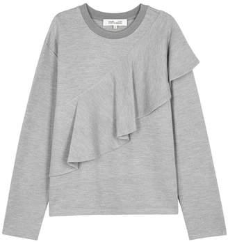 Diane von Furstenberg Grey Ruffled Jersey Sweatshirt