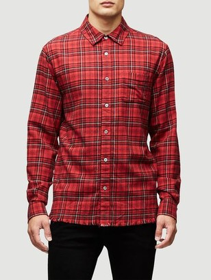 Frame Denim Broken Hem Flannel Red Check