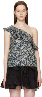 Etoile Isabel Marant Black Thom Single-Shoulder Tank Top