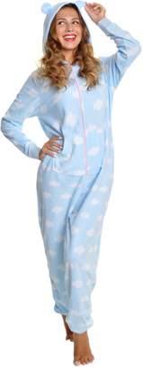Angelina Women's Fleece Novelty One-Piece Hooded Pajamas, 1Z__LXL