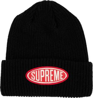 Supreme Oval Patch Beanie - 'FW 18' - Black