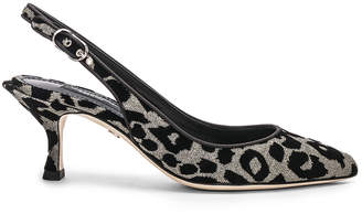 Dolce & Gabbana Leo Print Slingback Pumps in Gray | FWRD