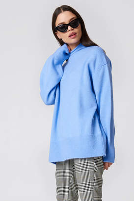 Na Kd Trend Turtle Neck Oversize Knitted Sweater Blue