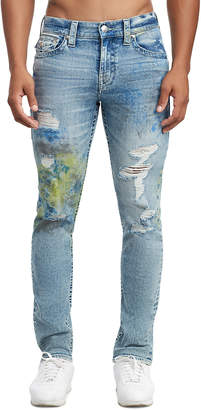 True Religion MENS DISTRESSED NEON PAINT SLIM JEAN W/ FLAP