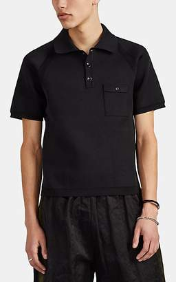 Maison Margiela Men's Mesh-Inset Compact Knit Polo Shirt - Black