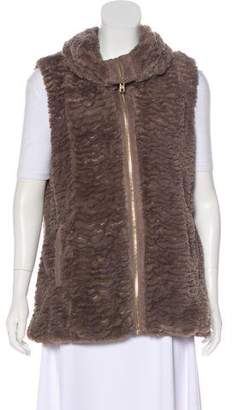 Andrew Marc Faux Fur Zip-Up Vest