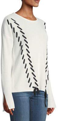 Neiman Marcus Crewneck Lace-Up Sweater