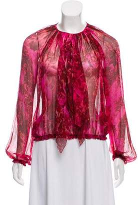 Giambattista Valli Draped Silk Top