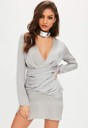 Missguided Silver Silky Long Sleeve Panelled Dress
