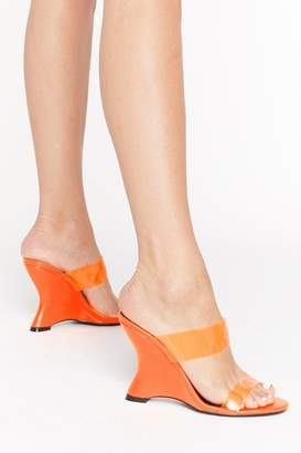Nasty Gal Womens Under Neon Lights Perspex Wedge Heels - Orange - 3