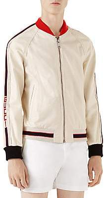 Gucci Men's Perforated Leather Bomber Jacket