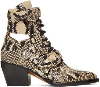Chloé Grey Snake Rylee Strap Boots
