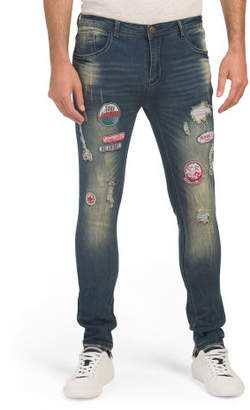 Ripped Skinny Jeans With Patches