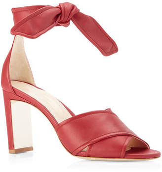 b418b3e12be Marion Parke Leah Metallic Leather Ankle-Tie Sandals