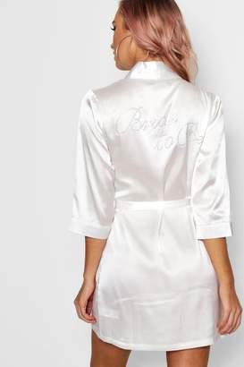 boohoo Lottie Diamante 'Bride To Be' Satin Robe