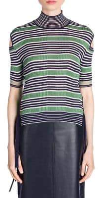 Fendi Rib Cut-Out Turtleneck Sweater
