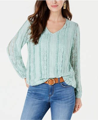 Style&Co. Style & Co Lace Overlay Blouse