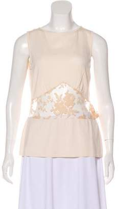 Valentino Lace-Accented Sleeveless Top