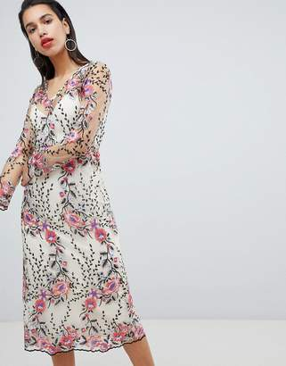 Vila Embroidered Floral Midi Dress