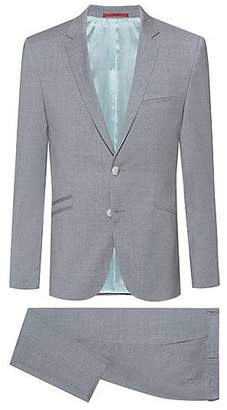 c298fc203 HUGO BOSS Extra-slim-fit virgin-wool suit with micro pattern