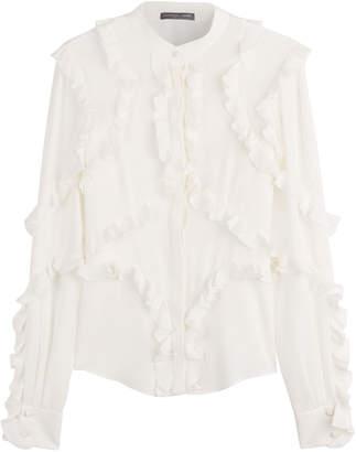 Alexander McQueen Silk Blouse with Ruffle Trim