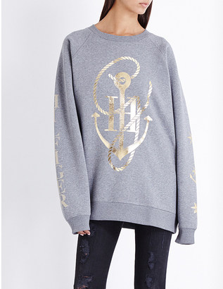 TOMMY HILFIGER Tommy x Gigi anchor-print jersey sweatshirt $132 thestylecure.com