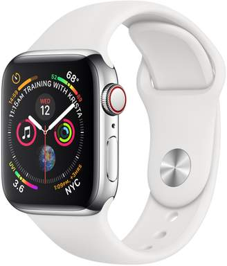 Apple AppleWatch Series4 GPS+Cellular, 40mm Stainless Steel Case with White Sport Band