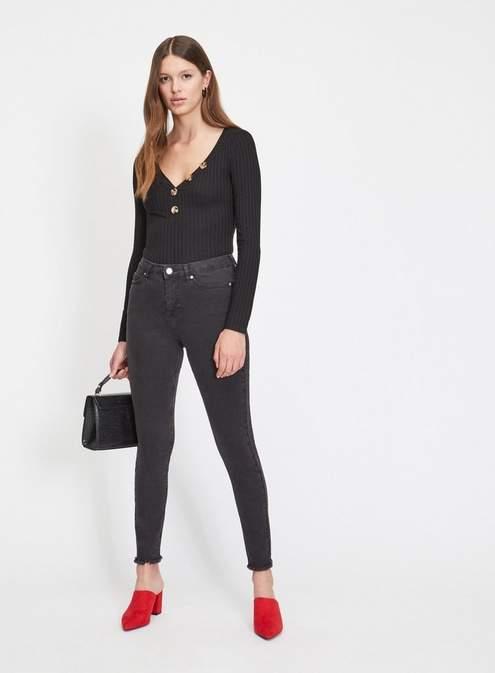 Lizzie high waist super skinny black frayed hem jeans