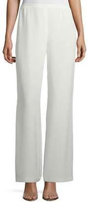 Caroline Rose Silk Crepe Lined Wide-Leg Pants, Plus Size