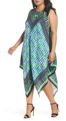 Nic+Zoe DJ Vu Handkerchief Hem Silk Blend Dress