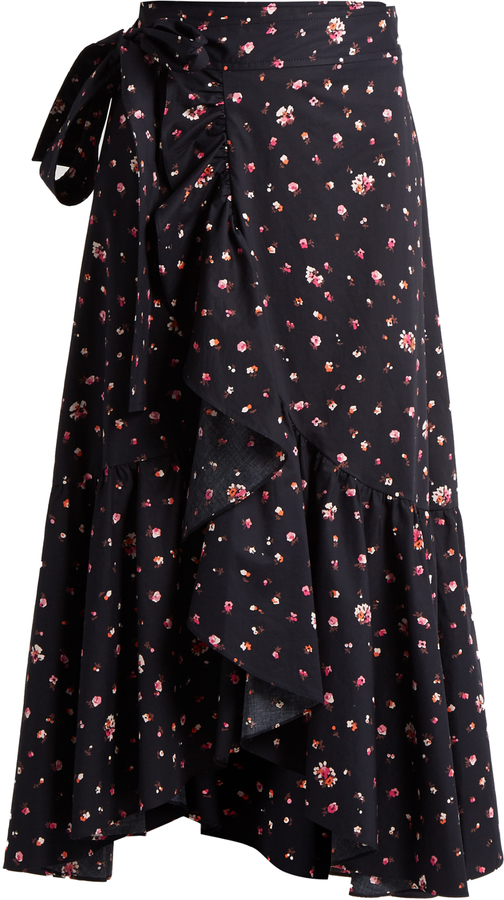 REBECCA TAYLOR Mia floral-print cotton wrap skirt