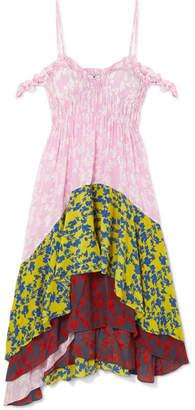 Preen Line Lilah Cold-shoulder Paneled Crepe De Chine Dress - Pink