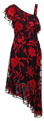 Rachel Zoe Women's Antonia Asymmetric Metallic Floral-Print Midi A-Line Dress