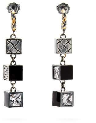 Bottega Veneta Cube Sterling Silver Drop Earrings - Womens - Silver
