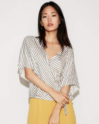 Express Striped Tie Front Kimono Blouse