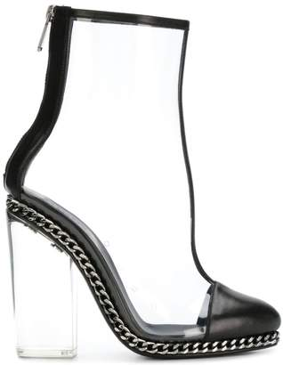 Balmain clear ankle boots