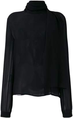 Saint Laurent sheer scarf neck blouse