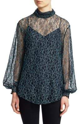See by Chloe Floral Mesh Lace Blouse