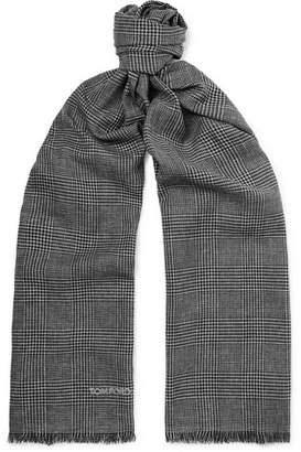 Tom Ford Fringed Prince of Wales Checked Mohair, Wool, Linen and Silk-Blend Scarf - Men - Gray